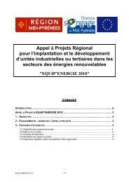 Appel à Projets Régional pour l'implantation et le développement d