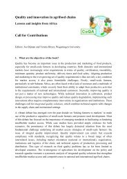 Quality and innovation in agrifood chains Call for Contributions - CoQA