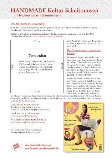 Hausmeister« Schnittmuster (PDF) - Handmade Kultur