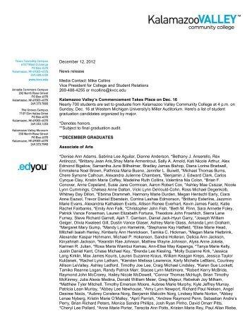 December 12, 2012 News release Media Contact - Kalamazoo ...