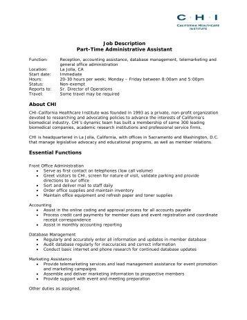 Job Description Part-Time Administrative Assistant About CHI ...