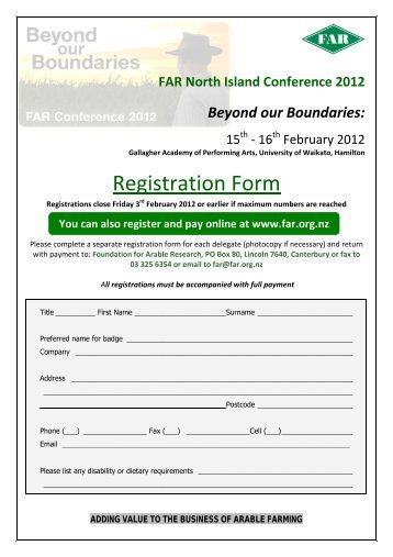 Registration Form - Foundation for Arable Research
