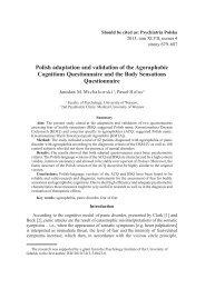 Polish adaptation and validation of the Agoraphobic Cognitions ...