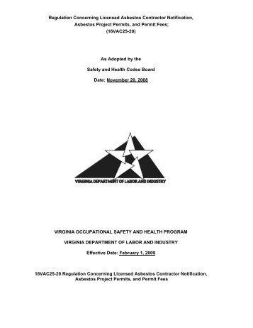 Regulation Concerning Licensed Asbestos Contractor Notification ...