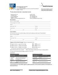 1 space application form – singapore pavilion - Clean Energy Expo