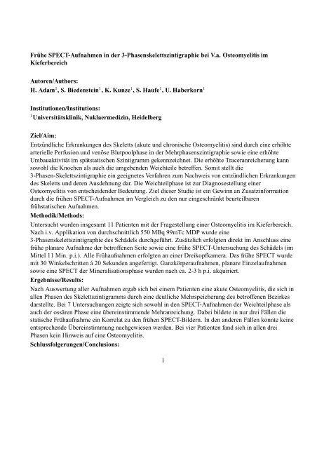 Frühe SPECT-Aufnahmen in der 3-Phasenskelettszintigraphie bei ...
