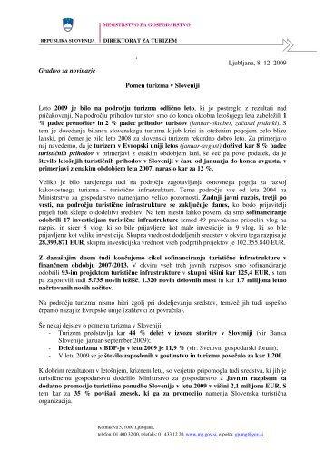 Pomen turizma v Sloveniji - Ministrstvo za gospodarski razvoj in ...