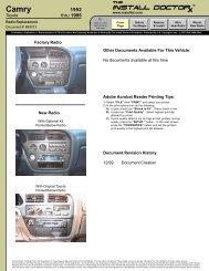 869013 - Camry - 92-95 - Radio Install