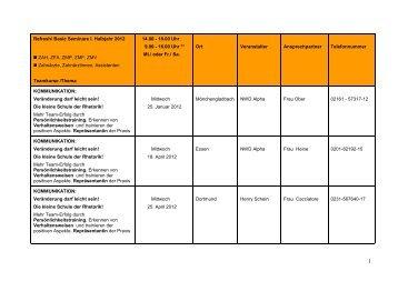 Refresh/ Basic Seminare I. Halbjahr 2012 ZAH, ZFA, ZMP, ZMF ...