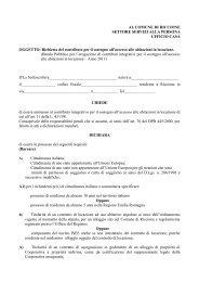 Modulo richiesta contributi affitto 2011 - Comune di Riccione
