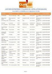 liste des entreprises titulaires de l'appellation qualisol - Espace Info ...