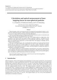 Calculation and optical measurement of laser trapping ... - Physics