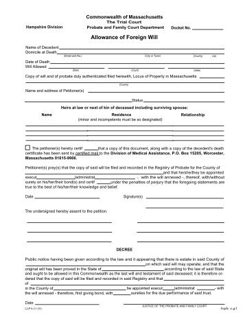 Separation Agreement Without Children Hampshire County Probate