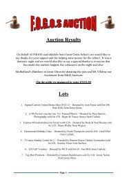 FOGOS Auction Results - Friends Of Great Orton School