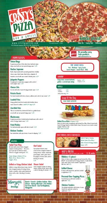 APPETIZERS Soup Of the Day KID'S MENU - Cristy's Pizza