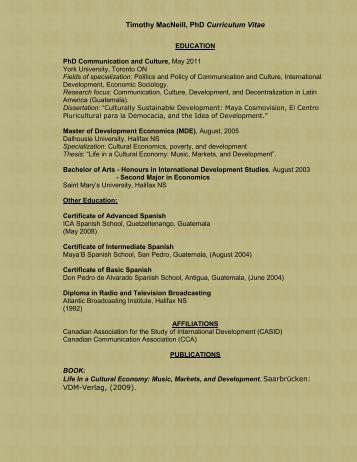 Timothy MacNeill, PhD Curriculum Vitae VDM-Verlag, (2009).