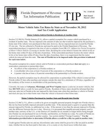 Florida Department of Revenue TIP 13A01-02 - Florida Sales Tax ...