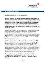 Erfolgreiche Restrukturierung und Neuausrichtung ... - paragon AG