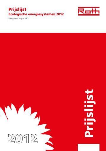 Nederlandstalige prijslijst 2012-2013 - Roth