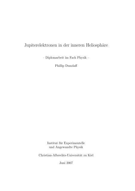 Jupiterelektronen - Institut für Experimentelle und Angewandte ...