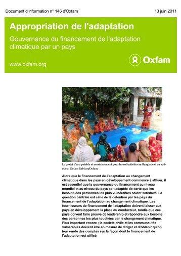 Gouvernance du financement de l'adaptation climatique par un pays