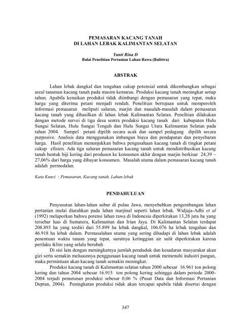 Pemasaran Kacang Tanah di Lahan Lebak Kalimantan Selatan.