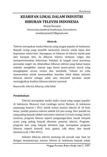 kearifan lokal dalam industri hiburan televisi indonesia