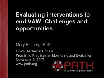 Evaluating interventions to end VAW: Challenges and opportunities