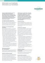 Information zur Anästhesie Information sur l'anesthésie - Klinik Linde