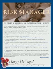 2008 Fourth Quarter Risk Manager - Medical Assurance Company ...