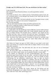 """Predigt vom 21.11.2010 zum Lied """"Wer nur den lieben Gott lässt ..."""