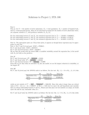 Solutions to Project 1, STA 108 - Statistics