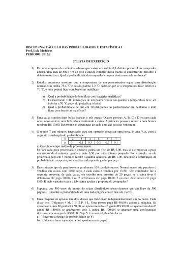 Lista de exercício 2 - Departamento de Estatística
