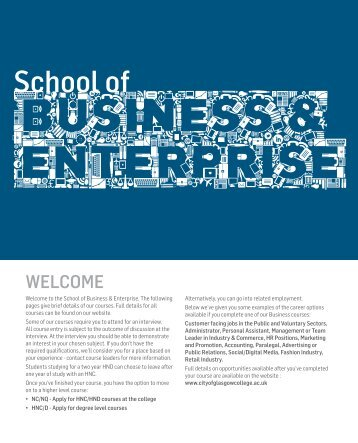 Business and Enterprise - City of Glasgow College