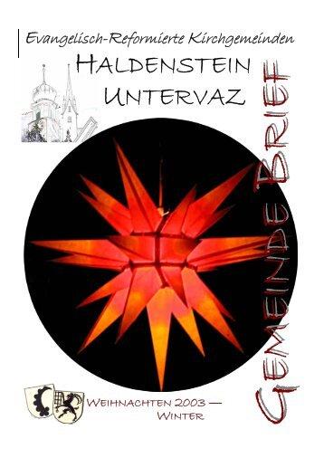 GB Uv 2003 - Reformierte Kirchgemeinde Untervaz