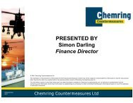PRESENTED BY Simon Darling Finance Director - Chemring Group ...