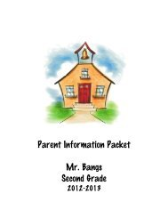 Parent Information Packet Mr. Bangs Second Grade