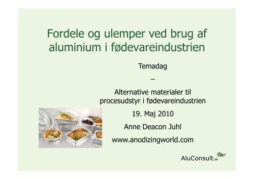 Fordele og ulemper ved brug af aluminium i fødevareindustrien