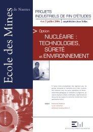 Option nucléaire : technologies, sûreté et environnement - Ecole des ...