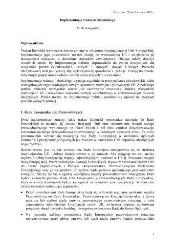 Implementacja traktatu lizbońskiego Polski non-paper ...