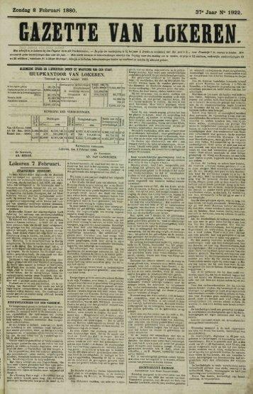 Zondag 8 Februari 1880. 37« Jaar N° 1922. GAZETTE VAN LGKEREN