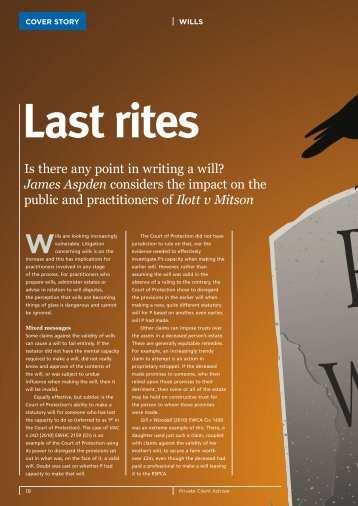 Is there any point in writing a will? James Aspden ... - Wilsons