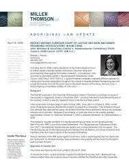 Recent Ontario Superior Court of Justice Decision ... - Miller Thomson