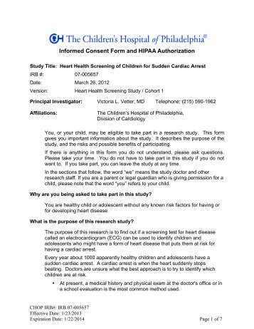 Informed Consent Form And HIPAA Authorization   The Childrenu0027s .
