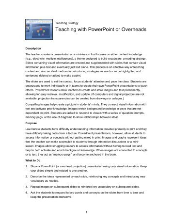 Teaching with PowerPoint or Overheads - youth literacy canada