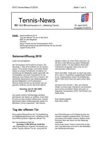 Tennis-News - SV Ohmenhausen