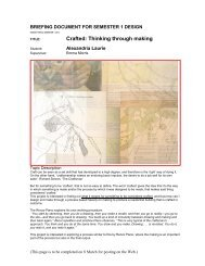 Crafted: Thinking through making - MArch(Prof) 2013ThesisWork