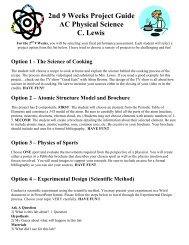 2nd 9 Weeks Project Guide AC Physical Science C ... - Cobb Learning