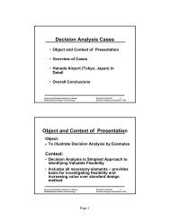 Decision Analysis Cases Object and Context of Presentation - MIT