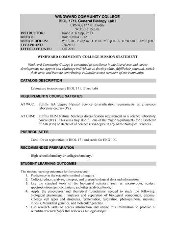 WINDWARD COMMUNITY COLLEGE BIOL 171L General Biology ...